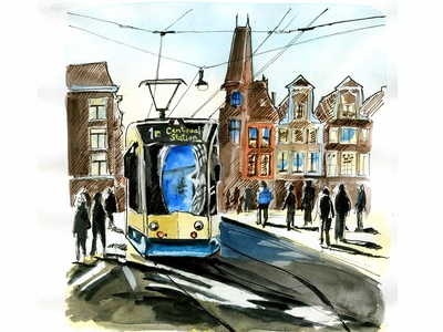 Amsterdam tram. Sunny street
