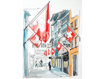Zurich. Flags. Transparency