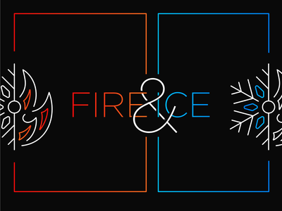 Fire and Ice icon minimal clean type letters ampersand snowflake flame