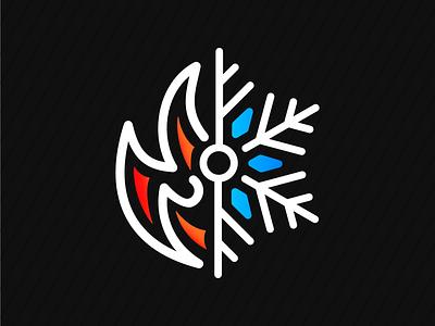 Fireflake snowflake snow fire flame icon