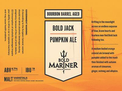 Bold Mariner Pumpkin Ale Label brewery ship typography beer art nautical label beer