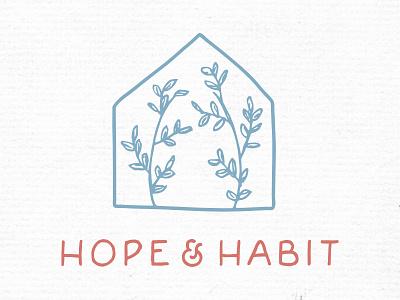 Hope & Habit handdrawn lifestyle blog house logo