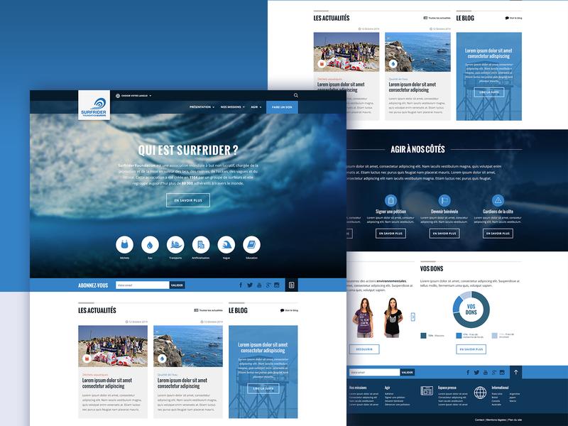Surfrider rebranding — 2015 blog foundation surf non-profit organization ui design webdesign
