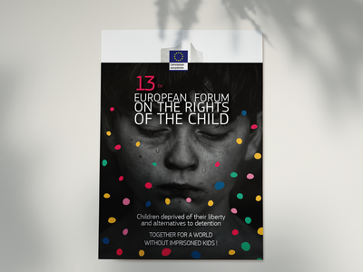 Child Rights campaign dots colors cry confettis child rights poster forum campaign rights children child european union europe