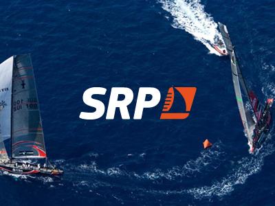 Sail Racing Parts logo design orange white blue sailing sports boat branding