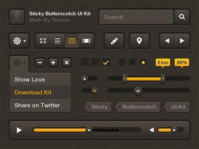 Sticky Butterscotch UI Kit - Free PSD awesome sticky butterscotch slider navigation gui download menu ui free kit interface texture resources button psd belgium freebie