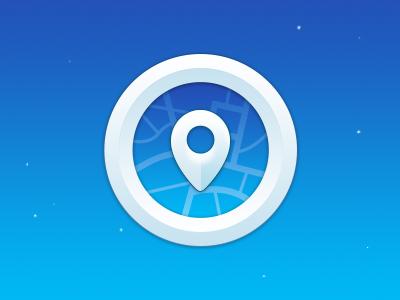 Pin pin map radar icon white blue belgium circle