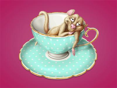 Dormouse mouse dormouse teacup tea cup illustration character icon alice wonderland