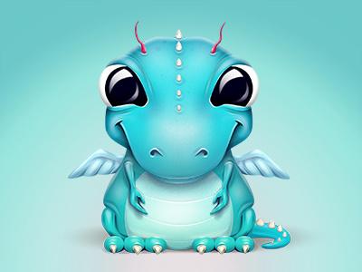 A baby dragon-like creature dragon baby character icon illustration illustrations creature wings