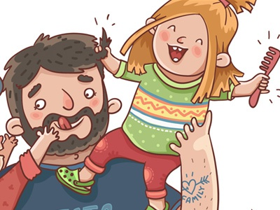 Family evening fragment colour character people illustration family