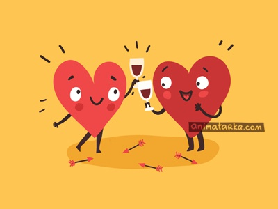 Drinking with Love color hearts characters