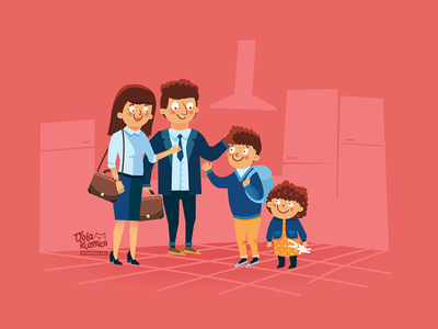September family fragment characters illustration red