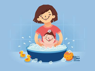Family blue bath family illustration