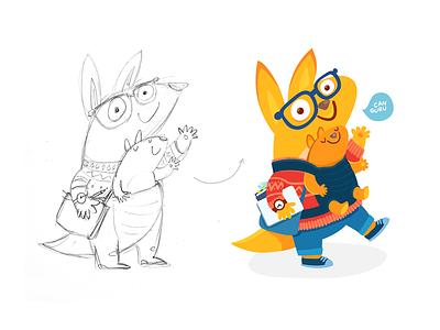 Kangaroo for Canguru family glasses cartoon animals dad canguru kangaroo yellow character illistration