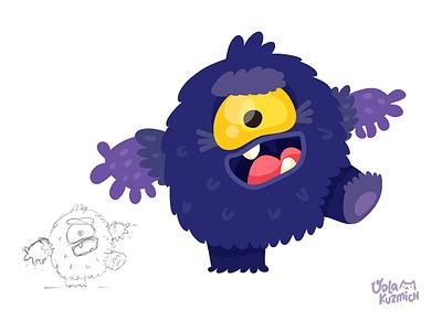 Purple Monster cartoon drawing flat kids cute purple character art character monster