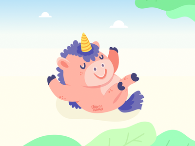 Newborn Unicorn illustration color cute pink readtoplay nicola character newborn unicorn