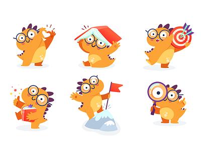 Dino Nicola Character for Kids Mobile App mobile dinosaur dino vector design characters illustration