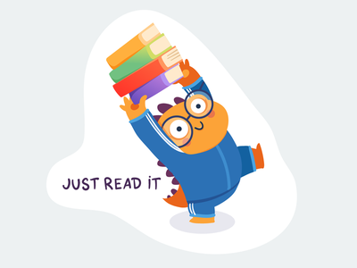 Just Read It humor dinosaur dino cute color book character illustration