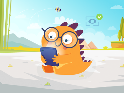 Read to Play! humor color characters dinosaur design dino cute book character illustration
