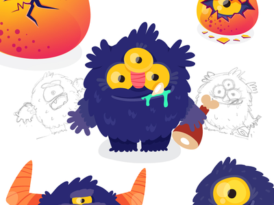 Monster character for Kids Mobile App flat sketches character design character purple monster cute animation illustration