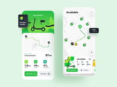 Kiwi | IOS App Design for Rent Scooters electric route ride rental app rent illustrator illustration navigation map journey ios icons logo branding explore design clean bike mobile app adobe photoshop