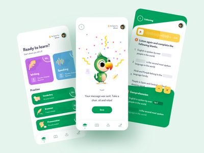 English Learning App Design ios design education app tasks ios online learning learning app mobile lessons learning english ux ui sketch illustrator illustration icons design clean app