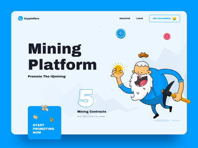 Cryptoffers Concept Design advertiser bitcoin trading cryptocurrency ux ui design concept web site web finance blue clean money offers crypto analytics