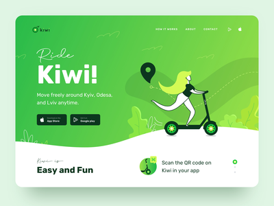 Kiwi | Landing Page Design for Rent Scooters ui figma sketch electric route ride rent illustrator illustration map journey icons logo branding explore design clean bike