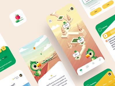 English Learning App Design mobile app ios design ux ui lessons education learning tasks sketch logo ios illustrator illustration icons english design clean branding app