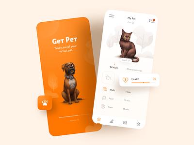 My Pet   IOS App Design andoid 3d ux ui design icons illustrations mobile design mobile app pet app pets animal clean ios sketch screen cat dog
