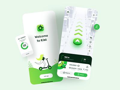 App Design for Rent scooter electric route ride rental app rent illustrator illustration navigation map journey ios icons logo branding explore design clean bike mobile app