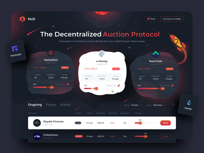 Cross-chain Auction Protocol pools illustration sketch design uiux protocol auction token blockchain
