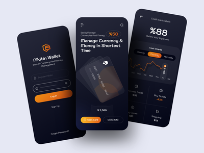 Wallet App dark ui ios design app design app ios sketch design ux ui finance banking wallet ui walletapp wallet