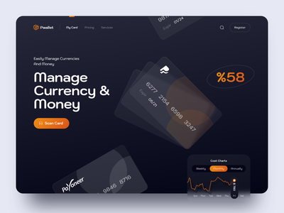 Wallet Landing Page credit cards finance wallet landing page landing sketch design ui ux