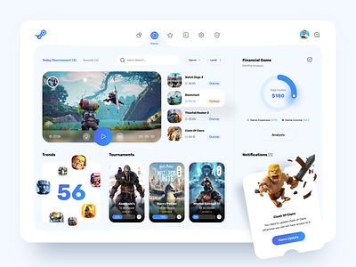 Gaming Dashboard Design blue white clean tournament dashboard ui icons sketch design ui ux games dashboard gaming