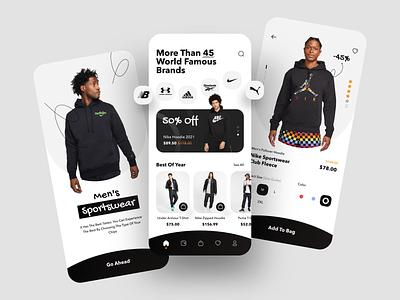 Sportswear Shop App ecommerce app sportswear sports puma reebok adidas shopping app ecommerce mobile app app ios sketch design ui ux