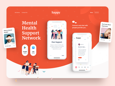 Mental Health Support Network landing page network support mental health awareness mentalhealth health ios ui ux sketch app landing