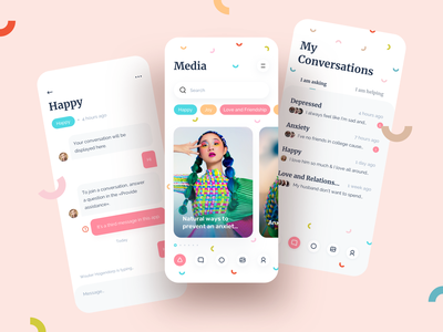 Mental Health Support App ios design clean app design illustration sketch design ux mobile ui mobile app health app support mental health awareness health mental
