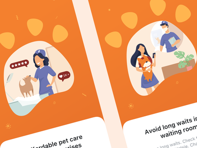 Pet Care Mobile App illustration orange app sketch design ui ux mobile app mobile veterinarian veterinary pet care pets pet