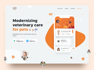 Pet Care Landing Page illustration orange sketch design ui ux desctop webdesign petshop pets veterinarian landing page veterinary pet care pet