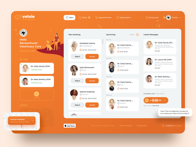 Pet Care Web Dashboard ui ux design desktop doctor appointment booking dashboad veterinary pet care
