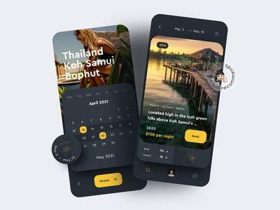 Travel App - Search and Book vacation rental vacation hotel booking ios design mobile app design ui ux search traveling calendar booking travel app travel