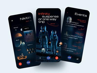 NASA Mobile APP Concept concept solar system cosmos earth mars dark mode mobile app planets space astronaut nasa sketch app ios design ui ux