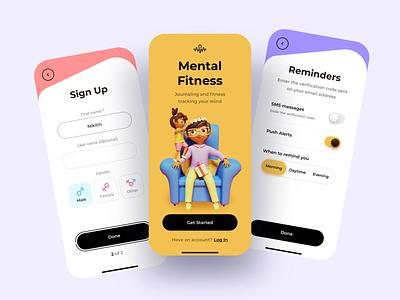 Mental Fitness App fitness mind mobile app training app healthcare mental health illustration clean app ios sketch design ui ux