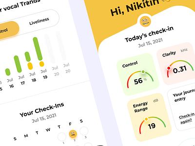 Mental Fitness App Check in mental health healthcare mobile app design illustration fitness health mental mobile app ios sketch design ui ux