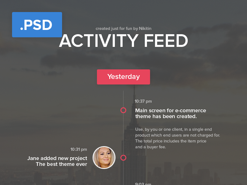 Activity feed  - Free PSD activity feed feed good news news tidings good tidings uncos new followers new comment new message free psd free