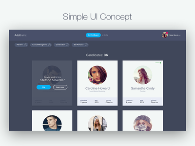 Simple UI concept profiles user card person card card hiring search specialist dark filter search