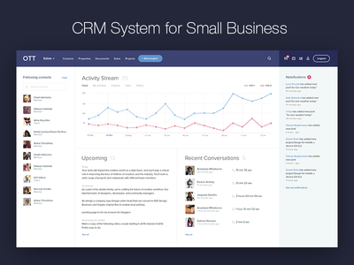 CRM System for Small Business simple interface simple ux ui interface notification contacts list crm system crm