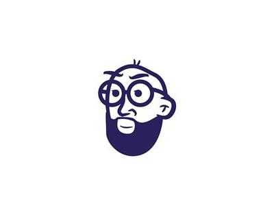 The Bearded Man person portrait character illustration vector glasses logo design beard avatar face