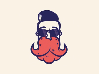 The Bearded Face sun glasses icon logo design retro avatar character illustration vector beard
